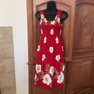 Hibiscus Collection Hawaii Red Floral Print Dress